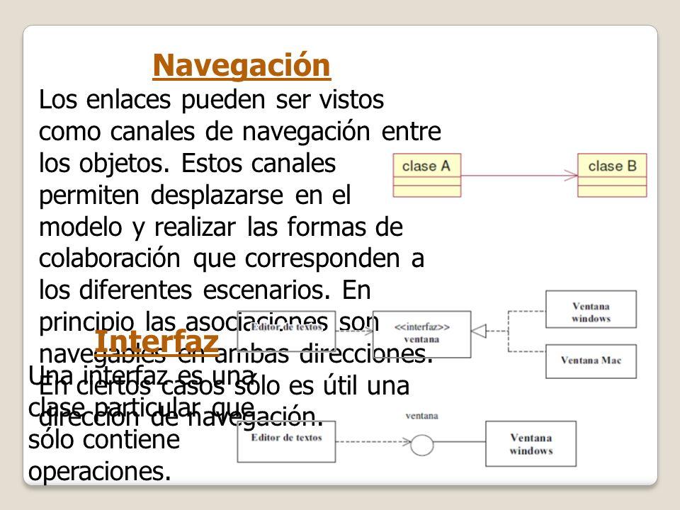 Navegación Los enlaces pueden ser vistos como canales de navegación entre los objetos. Estos canales permiten desplazarse en el modelo y realizar las