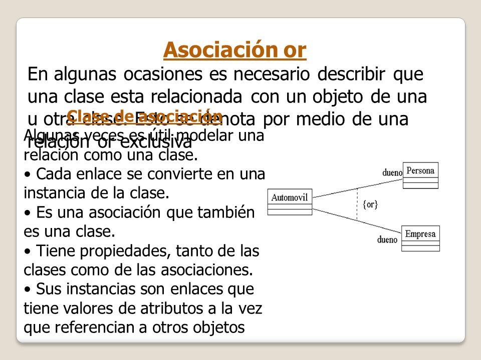 Asociación or En algunas ocasiones es necesario describir que una clase esta relacionada con un objeto de una u otra clase. Esto se denota por medio d