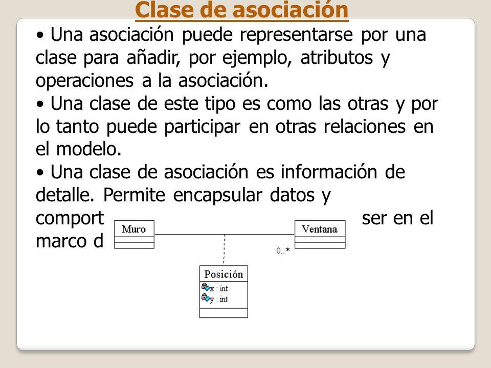 Clase de asociación Una asociación puede representarse por una clase para añadir, por ejemplo, atributos y operaciones a la asociación. Una clase de e