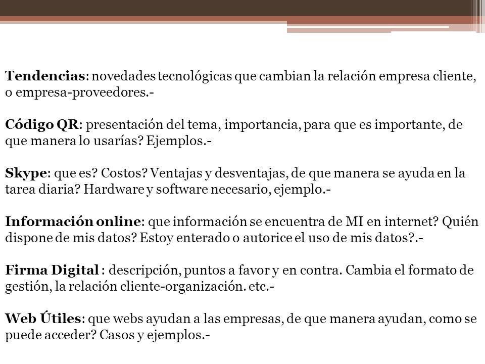 Tendencias: novedades tecnológicas que cambian la relación empresa cliente, o empresa-proveedores.- Código QR: presentación del tema, importancia, par