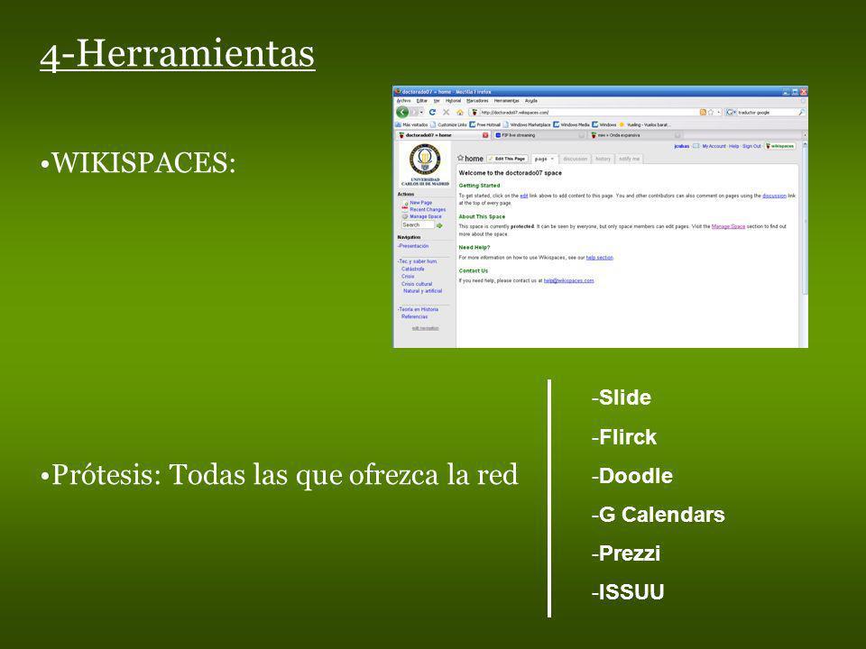 WIKISPACES: Prótesis: Todas las que ofrezca la red -Slide -Flirck -Doodle -G Calendars -Prezzi -ISSUU