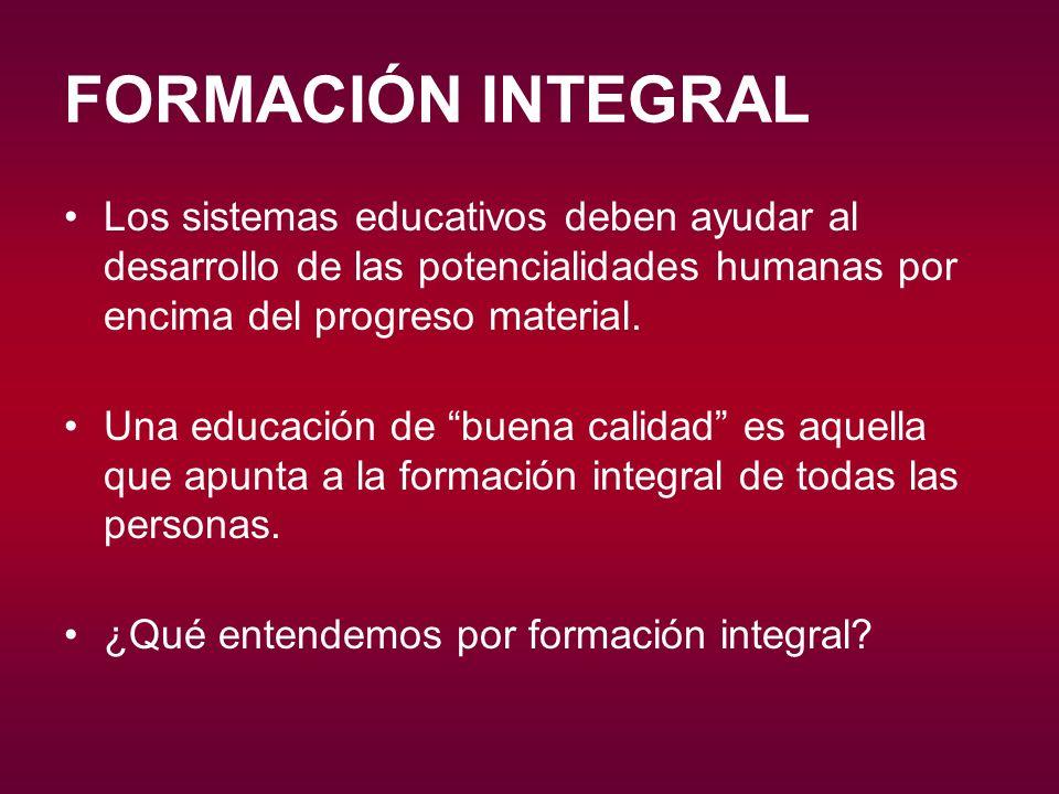 FORMACIÓN INTEGRAL FORMACIÓN INTEGRAL PROCESO EDUCATIVO PERFECCIONAMIENTO INDIVIDUAL FÍSICA ÉTICA ESTÉTICA POLÍTICO-SOCIAL CULTURAL RELIGIOSA INTELIGENCIA VOLUNTAD LIBERTAD FACULTADES ABIERTAS ORIENTADAS COMUNIDAD SENTIDO DE LA VIDA DIMENSIONES