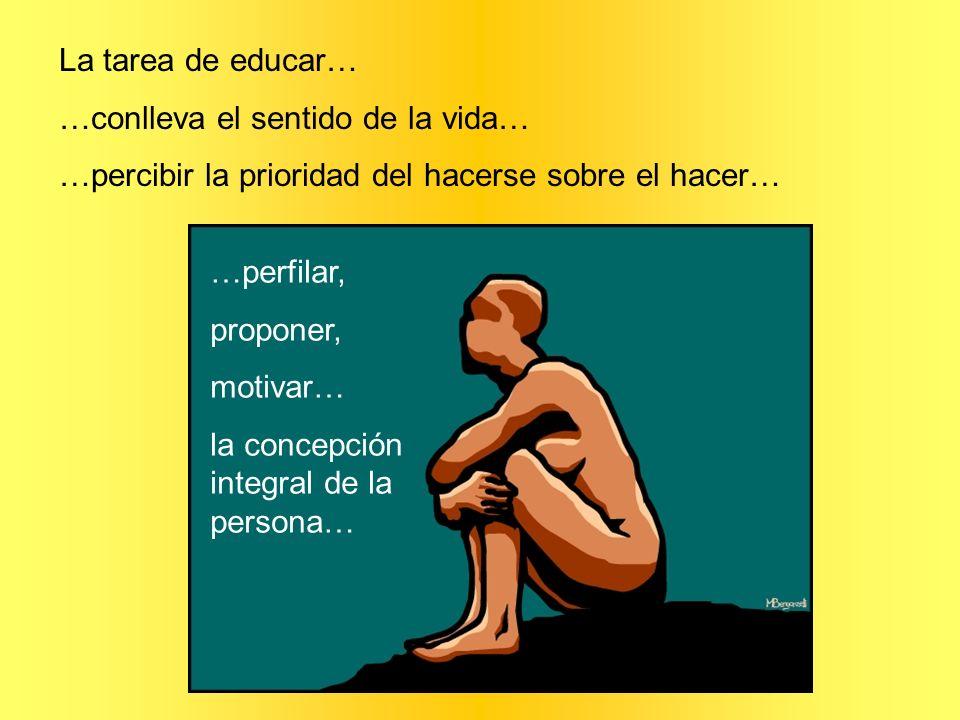 La tarea de educar… …conlleva el sentido de la vida… …percibir la prioridad del hacerse sobre el hacer… …perfilar, proponer, motivar… la concepción in