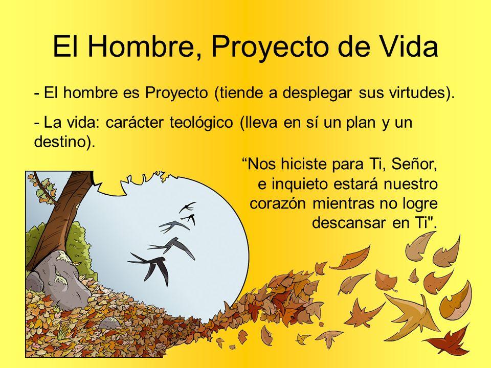 El Hombre, Proyecto de Vida - El hombre es Proyecto (tiende a desplegar sus virtudes). - La vida: carácter teológico (lleva en sí un plan y un destino