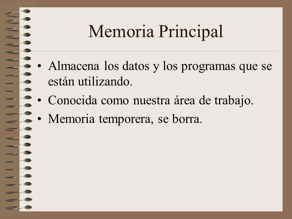 Memoria Principal Almacena los datos y los programas que se están utilizando. Conocida como nuestra área de trabajo. Memoria temporera, se borra.