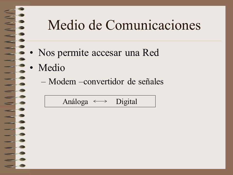 Medio de Comunicaciones Nos permite accesar una Red Medio –Modem –convertidor de señales Análoga Digital