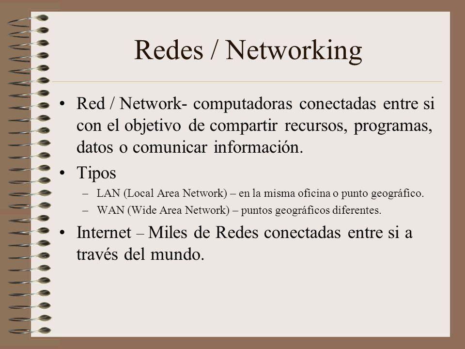 Redes / Networking Red / Network- computadoras conectadas entre si con el objetivo de compartir recursos, programas, datos o comunicar información. Ti