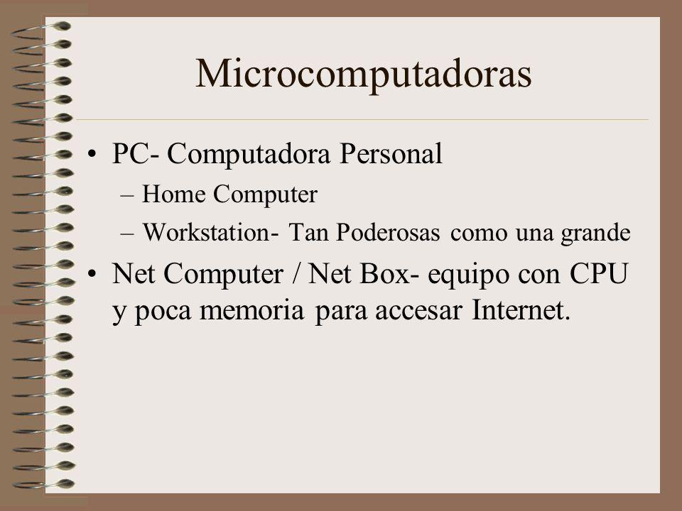 Microcomputadoras PC- Computadora Personal –Home Computer –Workstation- Tan Poderosas como una grande Net Computer / Net Box- equipo con CPU y poca me