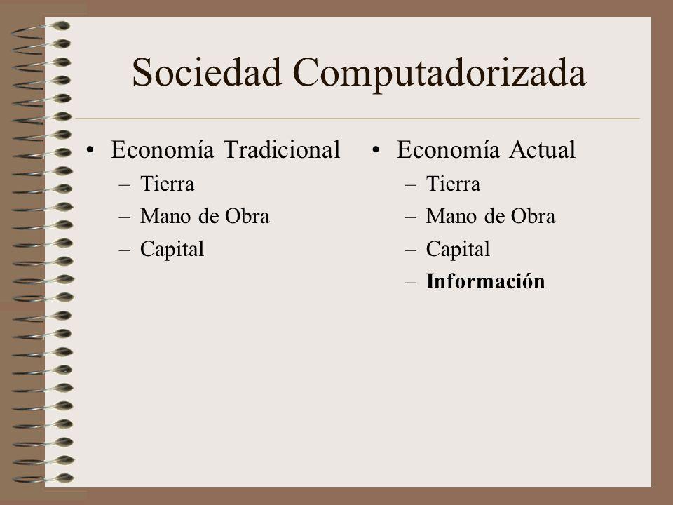 Sociedad Computadorizada Economía Tradicional –Tierra –Mano de Obra –Capital Economía Actual –Tierra –Mano de Obra –Capital –Información
