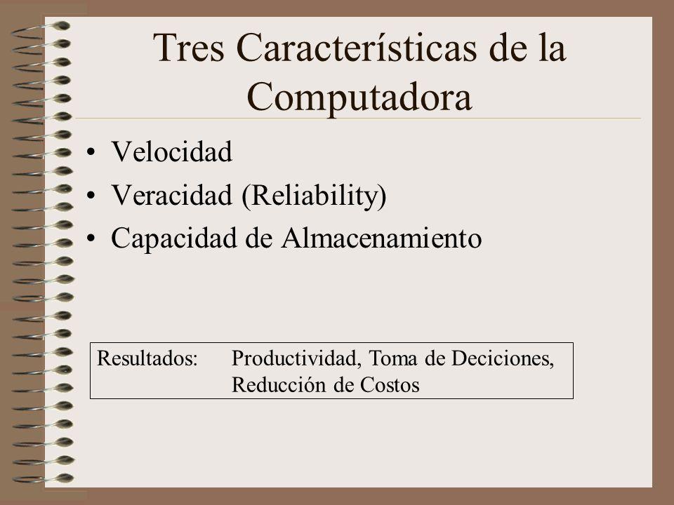 Tres Características de la Computadora Velocidad Veracidad (Reliability) Capacidad de Almacenamiento Resultados: Productividad, Toma de Deciciones, Re