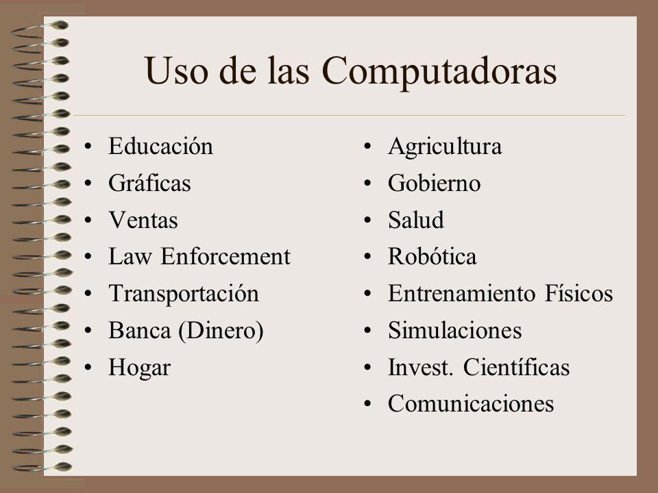 Uso de las Computadoras Educación Gráficas Ventas Law Enforcement Transportación Banca (Dinero) Hogar Agricultura Gobierno Salud Robótica Entrenamient