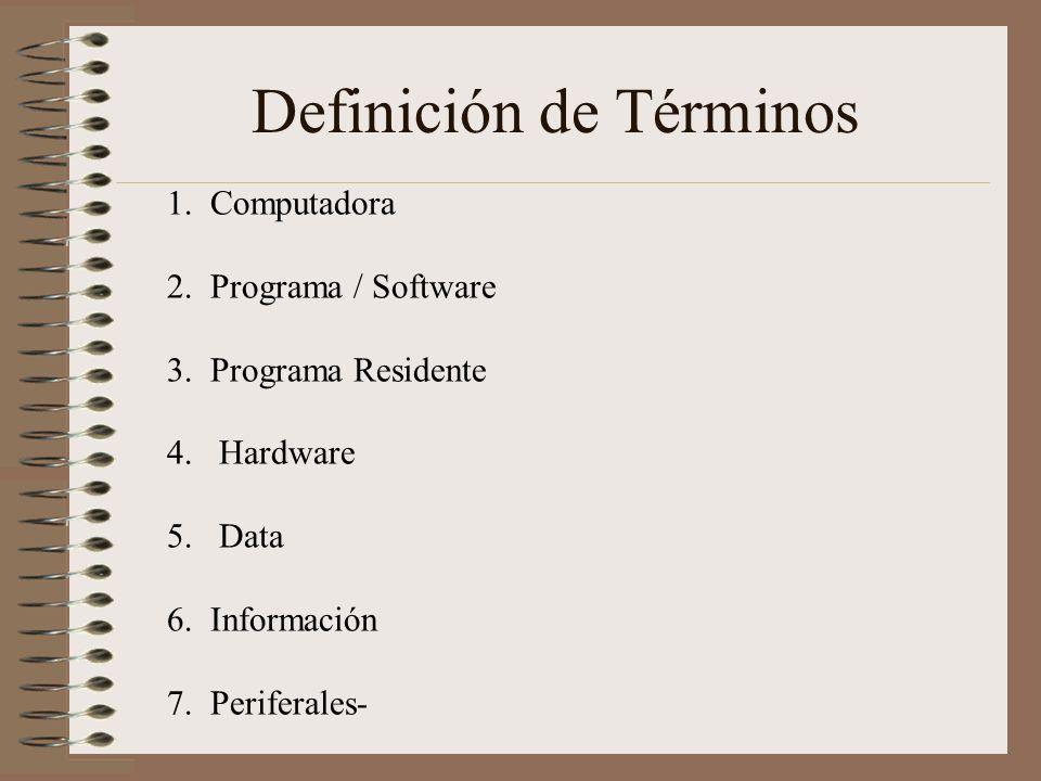 Definición de Términos 1. Computadora 2. Programa / Software 3. Programa Residente 4. Hardware 5. Data 6. Información 7. Periferales-