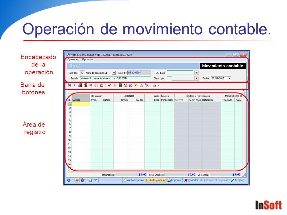 Movimiento contable Tipo documento de soporte Detalle de la operación Cuenta Centro de costos Detalle Cuenta Número doc.