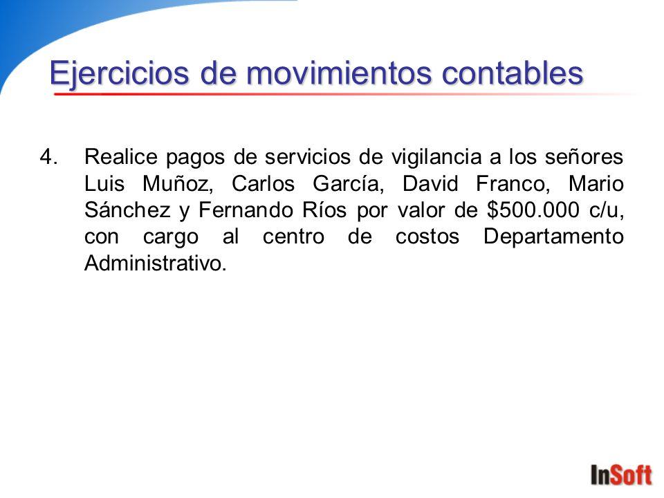 4.Realice pagos de servicios de vigilancia a los señores Luis Muñoz, Carlos García, David Franco, Mario Sánchez y Fernando Ríos por valor de $500.000