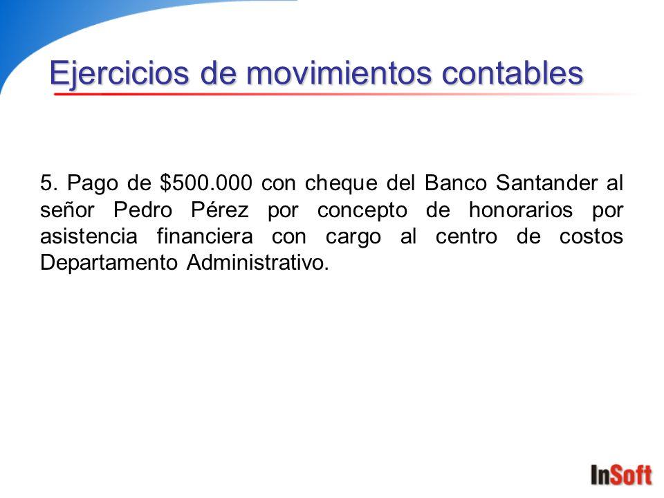 5. Pago de $500.000 con cheque del Banco Santander al señor Pedro Pérez por concepto de honorarios por asistencia financiera con cargo al centro de co