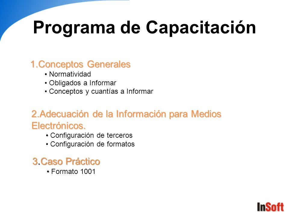 Programa de Capacitación 1.Conceptos Generales Normatividad Obligados a Informar Conceptos y cuantías a Informar 2.Adecuación de la Información para M