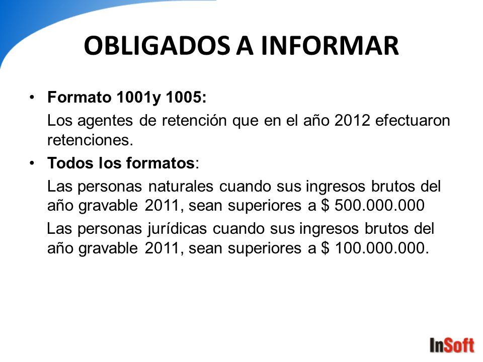 OBLIGADOS A INFORMAR Formato 1001y 1005: Los agentes de retención que en el año 2012 efectuaron retenciones. Todos los formatos: Las personas naturale