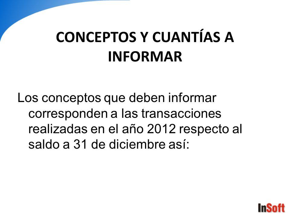 CONCEPTOS Y CUANTÍAS A INFORMAR Los conceptos que deben informar corresponden a las transacciones realizadas en el año 2012 respecto al saldo a 31 de