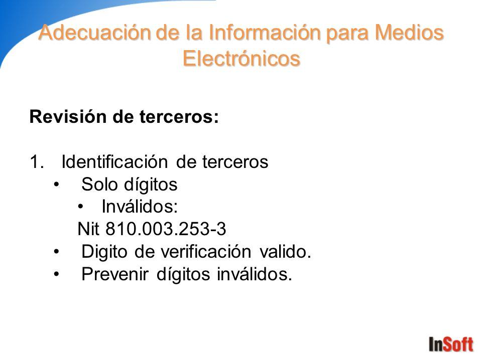 Adecuación de la Información para Medios Electrónicos Revisión de terceros: 1.Identificación de terceros Solo dígitos Inválidos: Nit 810.003.253-3 Dig