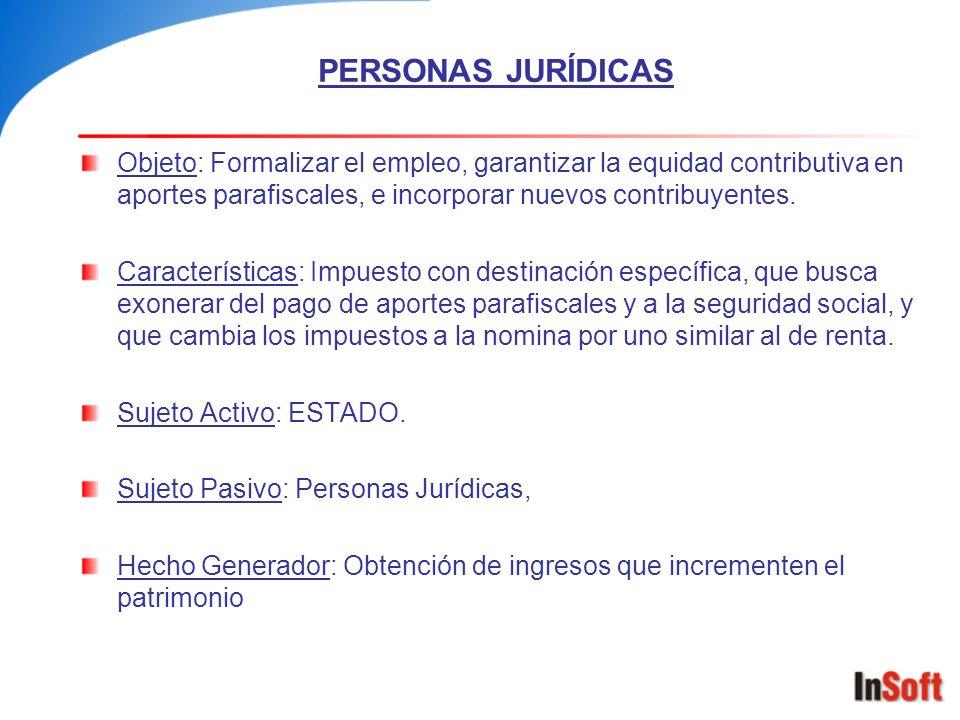 PERSONAS JURÍDICAS Objeto: Formalizar el empleo, garantizar la equidad contributiva en aportes parafiscales, e incorporar nuevos contribuyentes. Carac