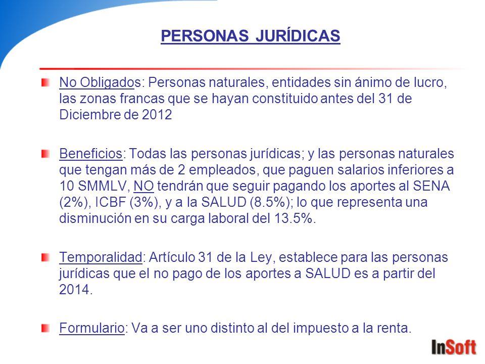 PERSONAS JURÍDICAS No Obligados: Personas naturales, entidades sin ánimo de lucro, las zonas francas que se hayan constituido antes del 31 de Diciembr