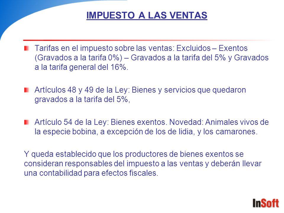 IMPUESTO A LAS VENTAS Tarifas en el impuesto sobre las ventas: Excluidos – Exentos (Gravados a la tarifa 0%) – Gravados a la tarifa del 5% y Gravados