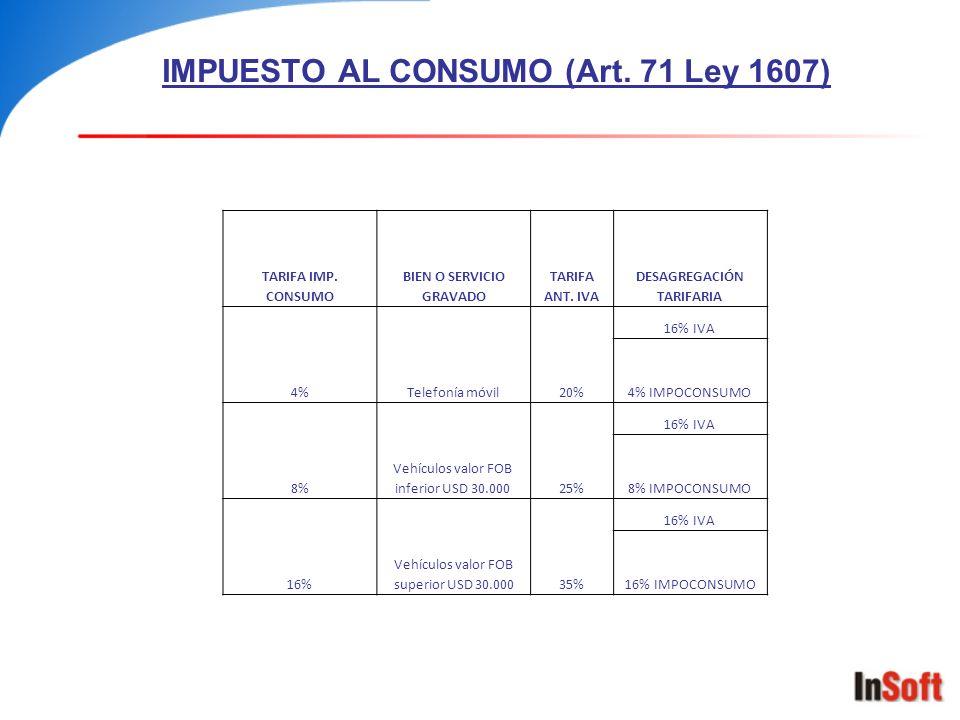 IMPUESTO AL CONSUMO (Art. 71 Ley 1607) TARIFA IMP. CONSUMO BIEN O SERVICIO GRAVADO TARIFA ANT. IVA DESAGREGACIÓN TARIFARIA 4%Telefonía móvil20% 16% IV