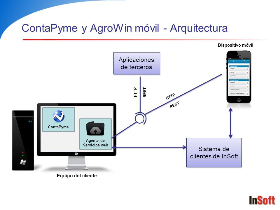 ContaPyme y AgroWin móvil - Arquitectura Equipo del cliente ContaPyme Agente de Servicios web Dispositivo móvil HTTP REST Sistema de clientes de InSof