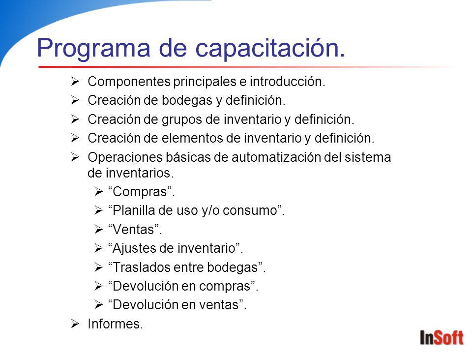 Programa de capacitación. Componentes principales e introducción. Creación de bodegas y definición. Creación de grupos de inventario y definición. Cre