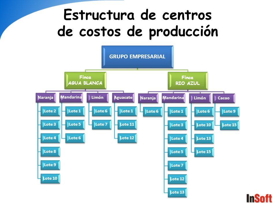Estructura de centros de costos de producción GRUPO EMPRESARIAL Finca AGUA BLANCA Naranja Lote 2 Lote 3 Lote 4 Lote 8 Lote 9 Lote 10 Mandarina Lote 1