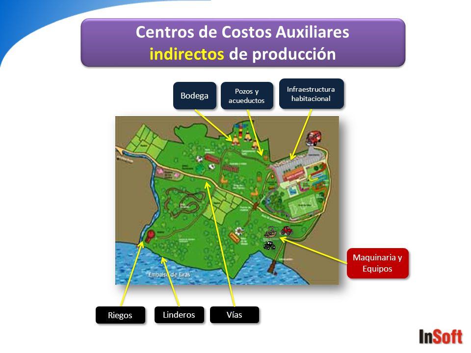 Vías Bodega Infraestructura habitacional Pozos y acueductos Maquinaria y Equipos Riegos Linderos Centros de Costos Auxiliares indirectos de producción
