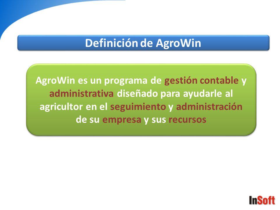 AgroWin es un programa de gestión contable y administrativa diseñado para ayudarle al agricultor en el seguimiento y administración de su empresa y su