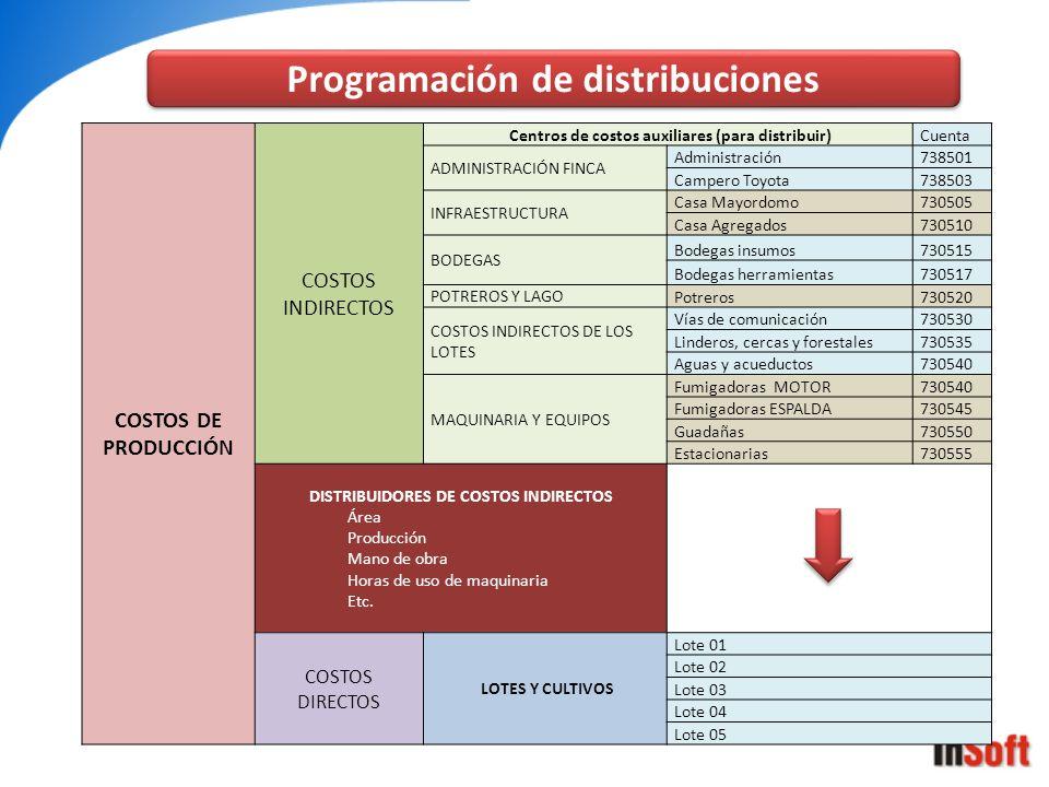 Programación de distribuciones COSTOS DE PRODUCCIÓN COSTOS INDIRECTOS Centros de costos auxiliares (para distribuir) Cuenta ADMINISTRACIÓN FINCA Admin