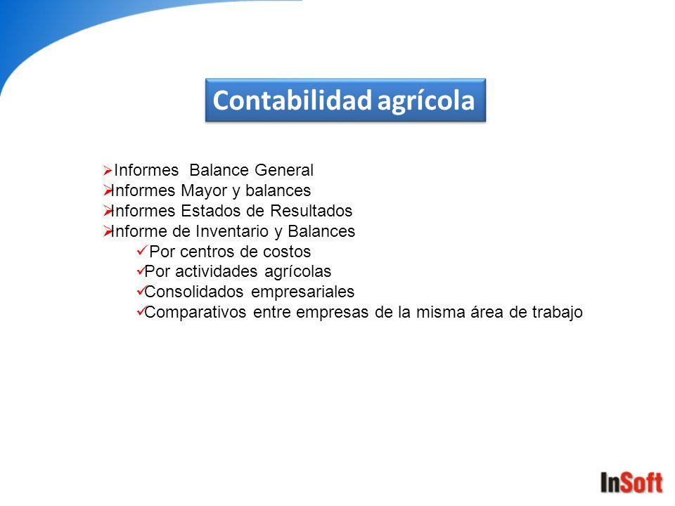Contabilidad agrícola Informes Balance General Informes Mayor y balances Informes Estados de Resultados Informe de Inventario y Balances Por centros d