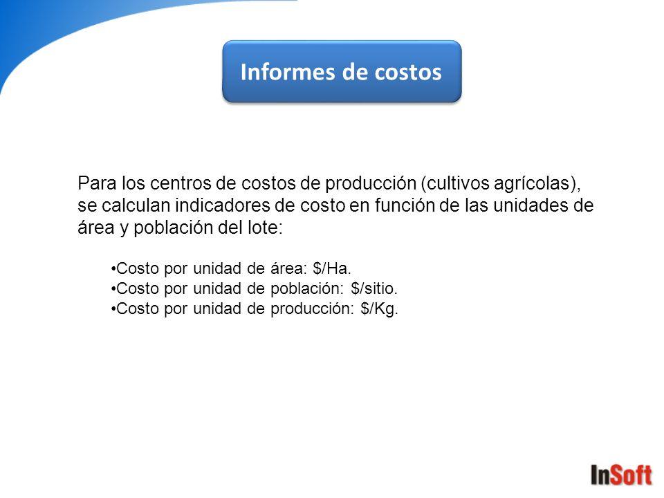 Informes de costos Para los centros de costos de producción (cultivos agrícolas), se calculan indicadores de costo en función de las unidades de área