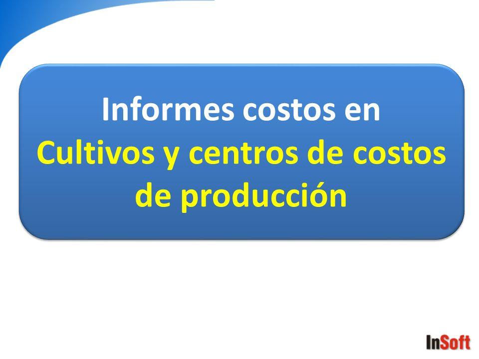 Informes costos en Cultivos y centros de costos de producción