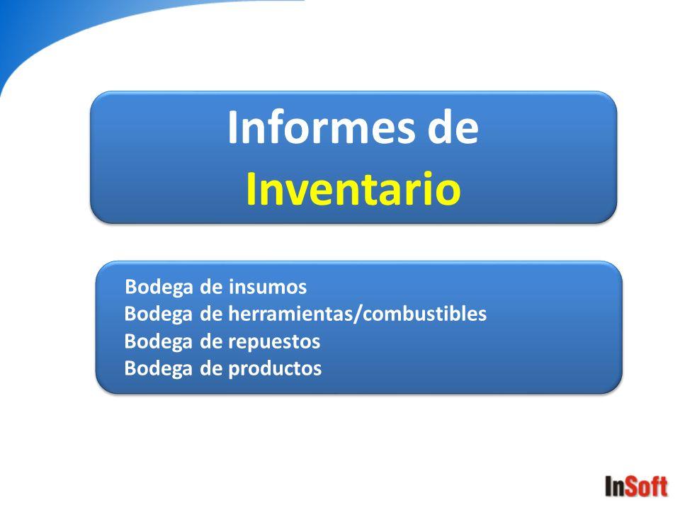 Informes de Inventario Informes de Inventario Bodega de insumos Bodega de herramientas/combustibles Bodega de repuestos Bodega de productos Bodega de