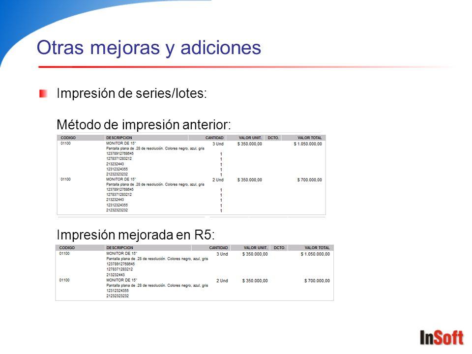 Otras mejoras y adiciones Impresión de series/lotes: Método de impresión anterior: Impresión mejorada en R5: