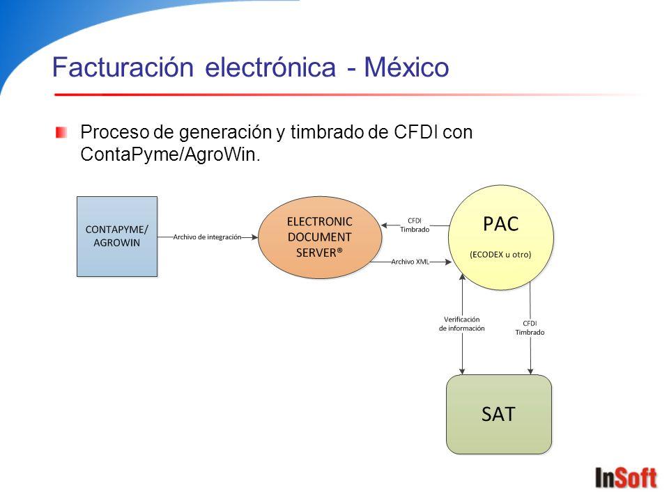 Facturación electrónica - México Proceso de generación y timbrado de CFDI con ContaPyme/AgroWin.