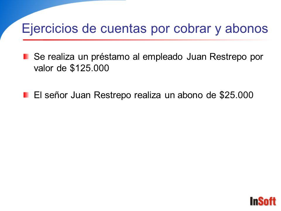 Ejercicios de cuentas por cobrar y abonos Se realiza un préstamo al empleado Juan Restrepo por valor de $125.000 El señor Juan Restrepo realiza un abo