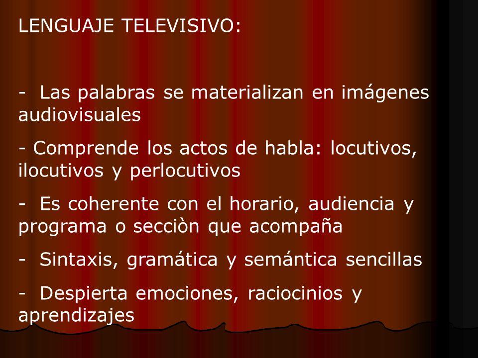 LENGUAJE TELEVISIVO: - Las palabras se materializan en imágenes audiovisuales - Comprende los actos de habla: locutivos, ilocutivos y perlocutivos - E