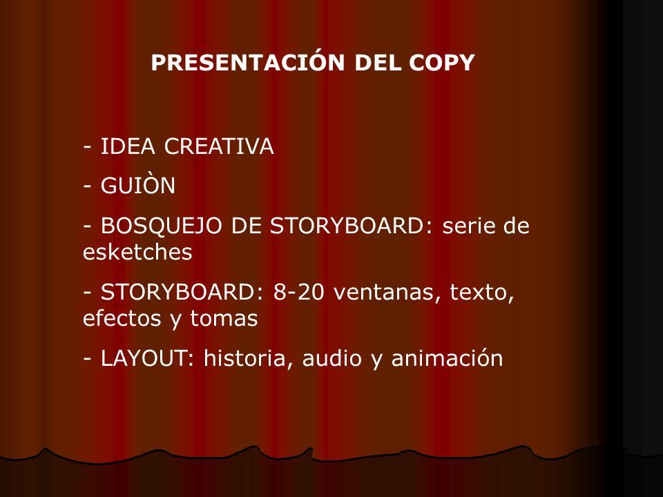 PRESENTACIÓN DEL COPY - IDEA CREATIVA - GUIÒN - BOSQUEJO DE STORYBOARD: serie de esketches - STORYBOARD: 8-20 ventanas, texto, efectos y tomas - LAYOUT: historia, audio y animación