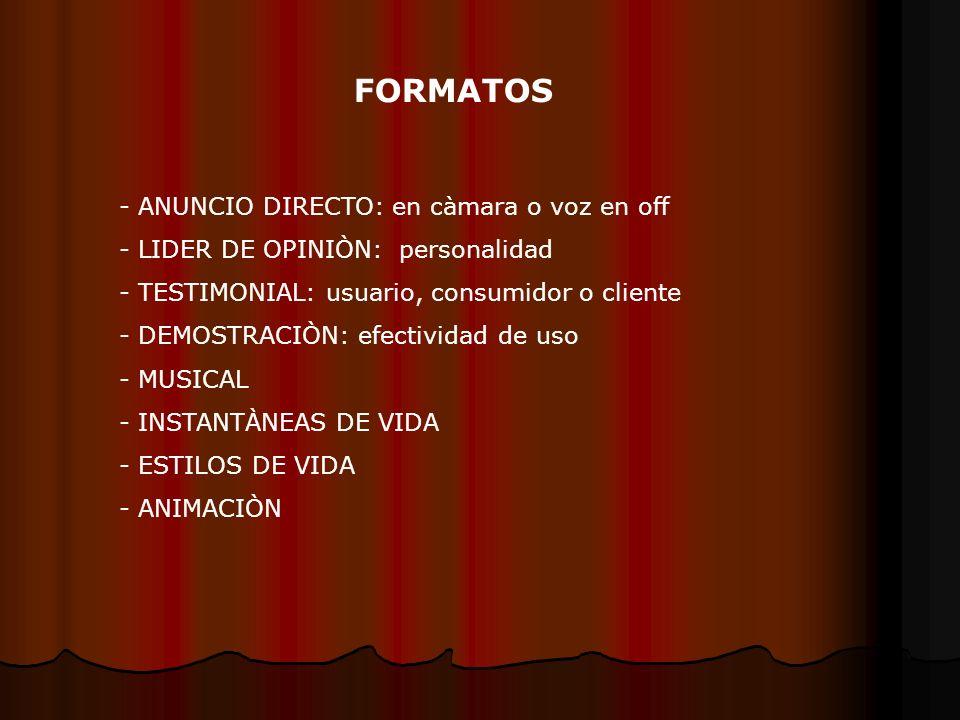 FORMATOS - ANUNCIO DIRECTO: en càmara o voz en off - LIDER DE OPINIÒN: personalidad - TESTIMONIAL: usuario, consumidor o cliente - DEMOSTRACIÒN: efectividad de uso - MUSICAL - INSTANTÀNEAS DE VIDA - ESTILOS DE VIDA - ANIMACIÒN