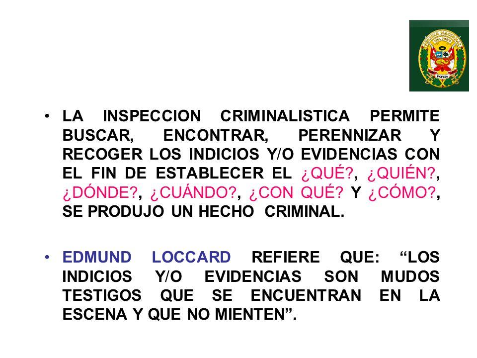 LA INSPECCION CRIMINALISTICA * CONJUNTO DE OBSERVACIONES, COMPROBACIONES Y OPERACIONES QUE SE REALIZAN EN LA ESCENA DEL CRIMEN Y QUE PERMITEN EL ESCLA