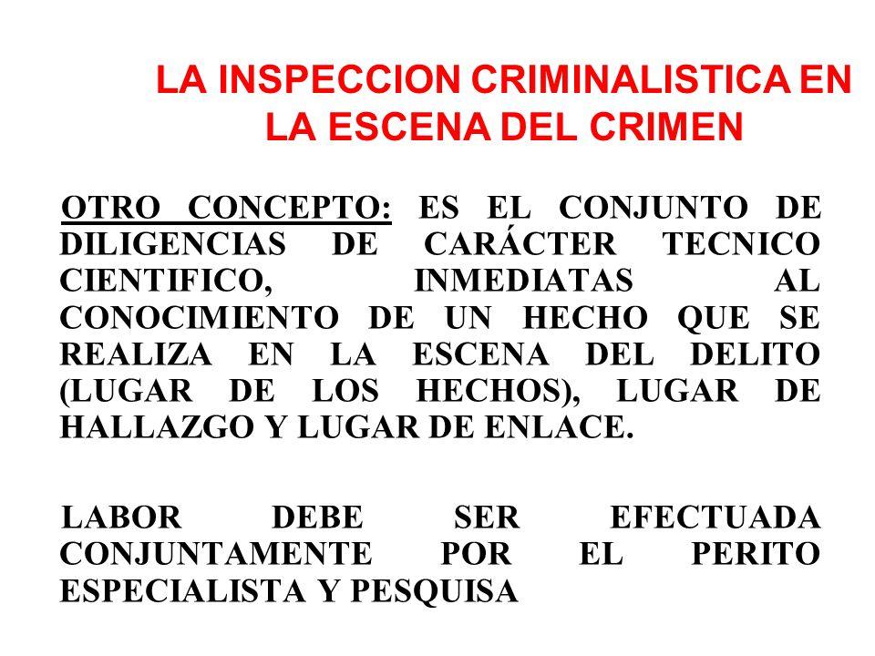 LA INSPECCION CRIMINALISTICA PERMITE BUSCAR, ENCONTRAR, PERENNIZAR Y RECOGER LOS INDICIOS Y/O EVIDENCIAS CON EL FIN DE ESTABLECER EL ¿QUÉ?, ¿QUIÉN?, ¿