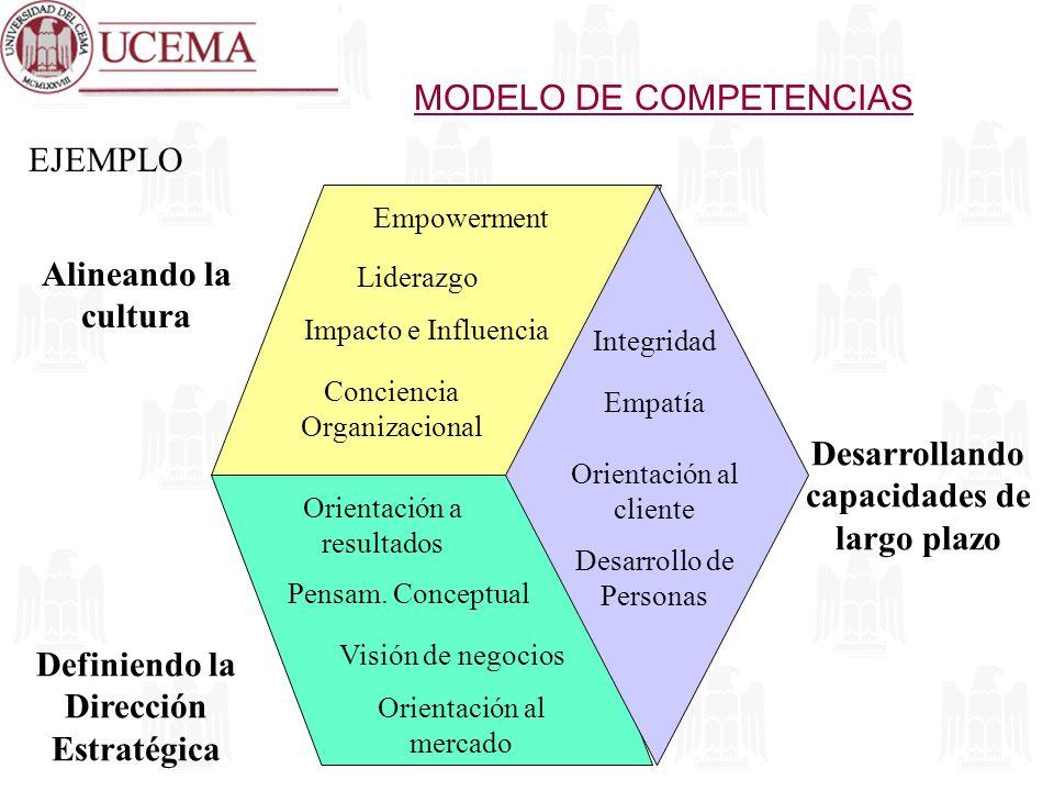 EJEMPLO Definiendo la Dirección Estratégica Alineando la cultura Desarrollando capacidades de largo plazo Empowerment Liderazgo Impacto e Influencia C
