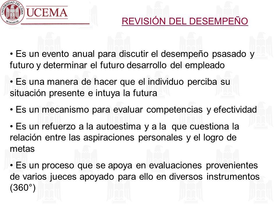 REVISIÓN DEL DESEMPEÑO Es un evento anual para discutir el desempeño psasado y futuro y determinar el futuro desarrollo del empleado Es una manera de