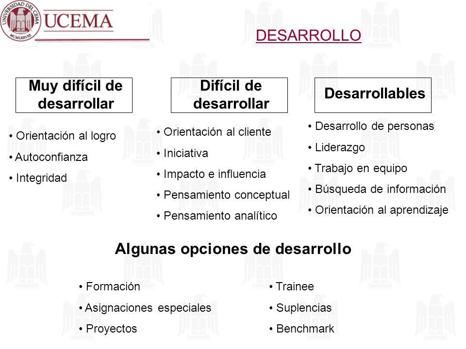 DESARROLLO Orientación al logro Autoconfianza Integridad Orientación al cliente Iniciativa Impacto e influencia Pensamiento conceptual Pensamiento ana