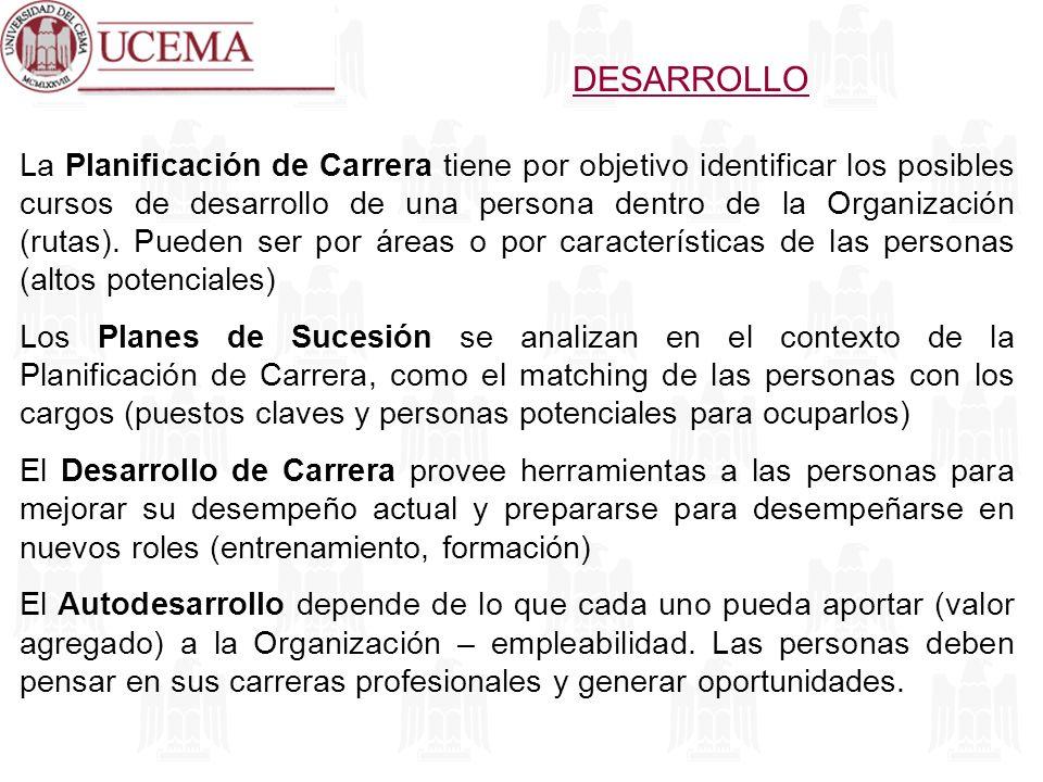DESARROLLO La Planificación de Carrera tiene por objetivo identificar los posibles cursos de desarrollo de una persona dentro de la Organización (ruta