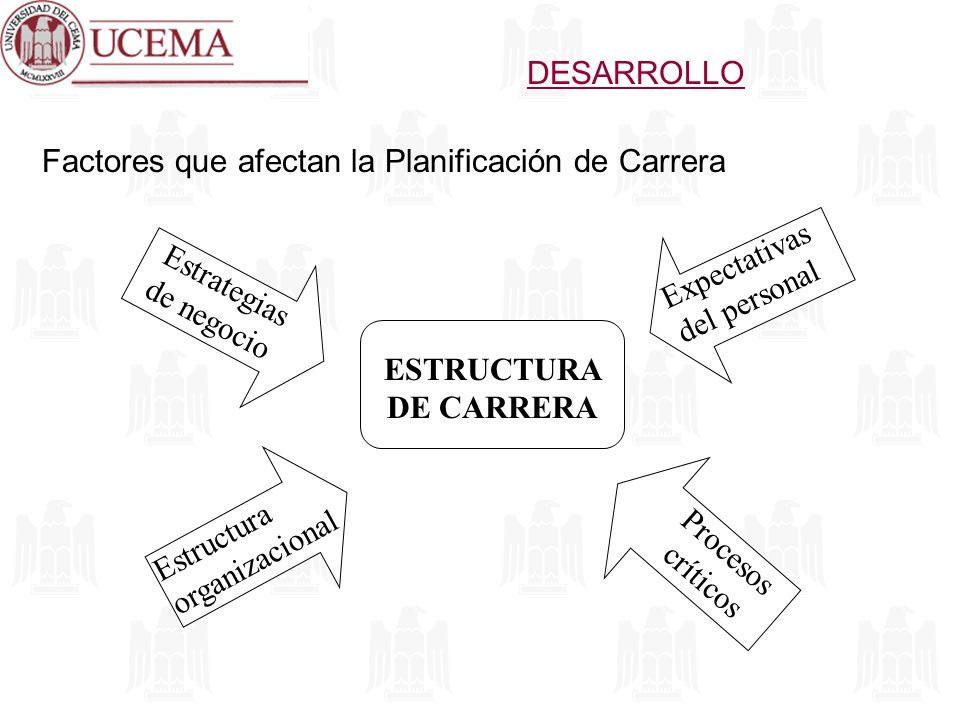 DESARROLLO ESTRUCTURA DE CARRERA Factores que afectan la Planificación de Carrera Estrategias de negocio Estructura organizacional Procesos críticos E